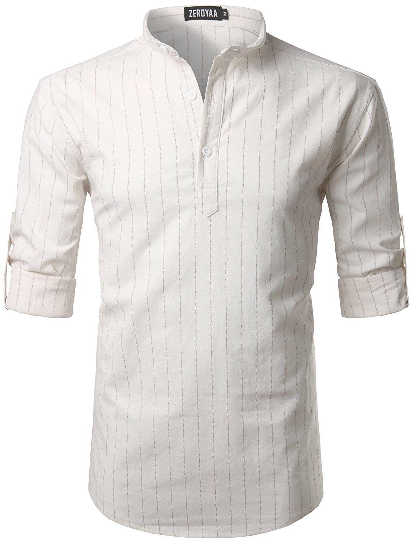 7db5343b Mens Casual Basic Slim Fit Linen Henley Hipster Roll-up Sleeve T Shirts -  Z37-white - CF1857IL4U7,Men's Clothing, Shirts, Henleys #men #fashion  #style ...