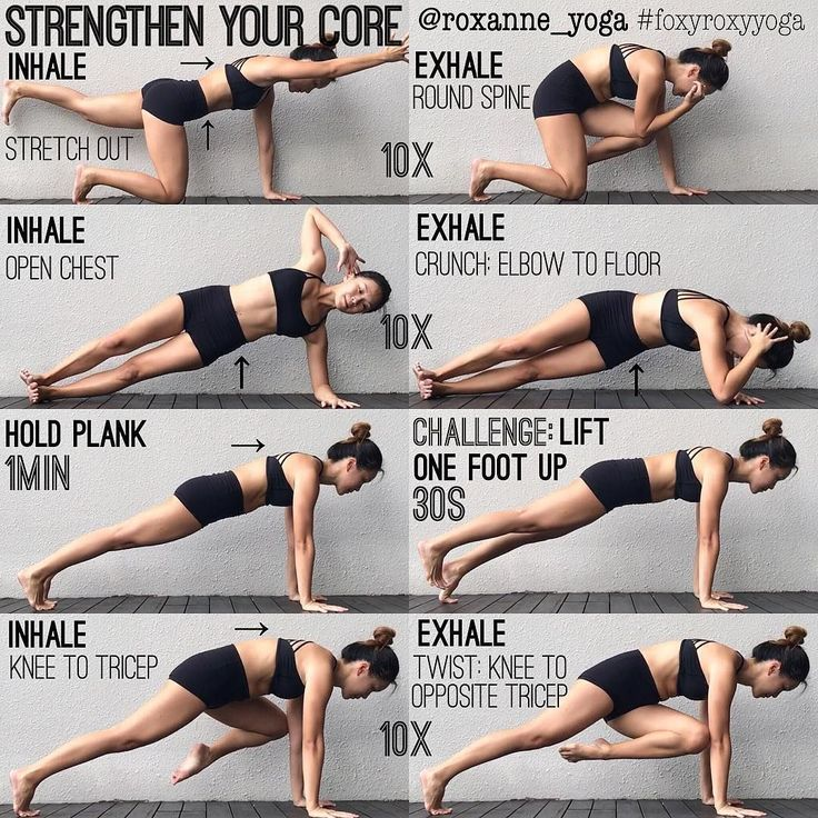 "ROXANNE GAN on Instagram: ""My favourite core exercises! 1. Inhale to stretch opposite arm & leg. Keep the core engaged by drawing belly & ribs in toward spine. As you…"""