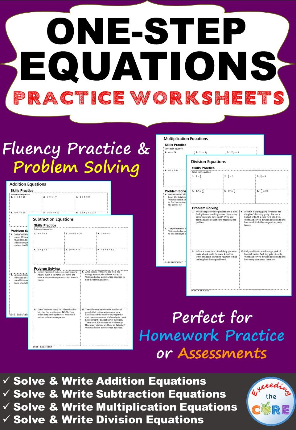 One Step Equations Homework Worksheets Skills Practice Word Problems One Step Equations Word Problems Equations