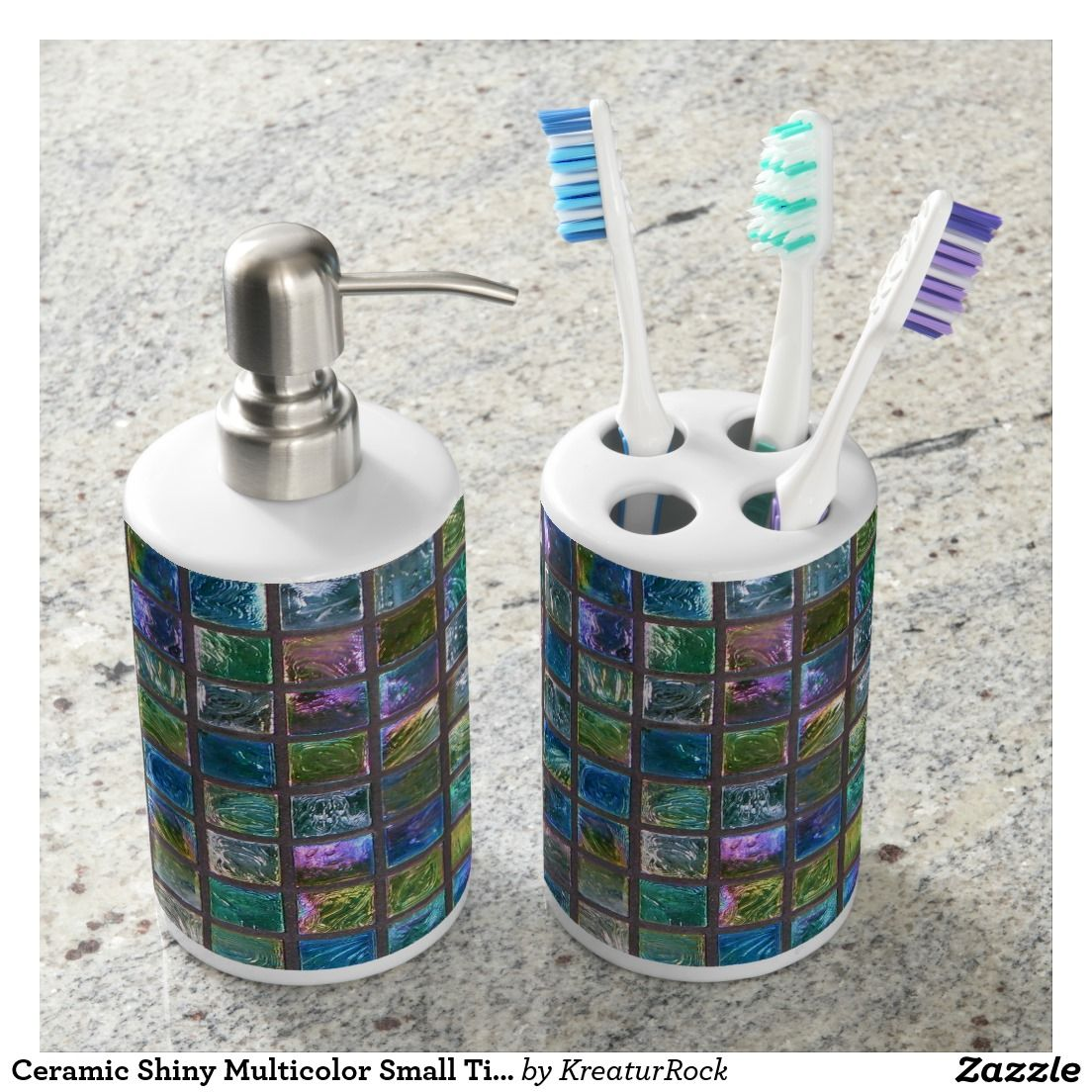 Ceramic Shiny Multicolor Small Tiles Dispenser Set