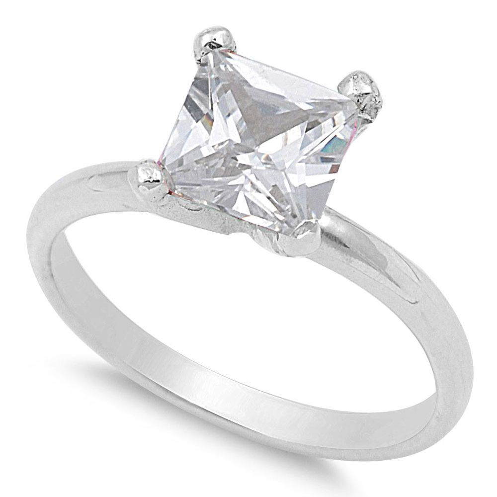 925 Sterling Silver CZ Solitaire Princess Prong Ring 9MM