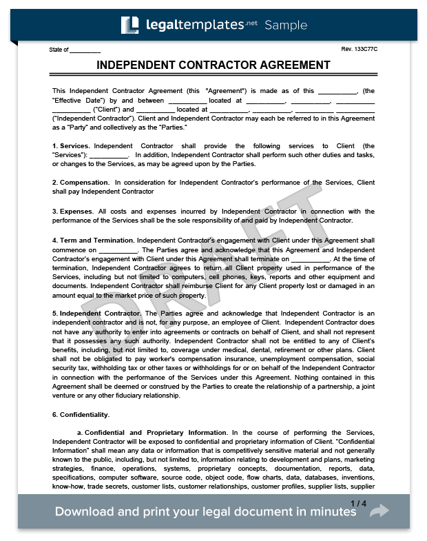 Free Independent Contractor Agreement Form Download Template