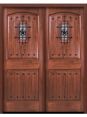"""Double Square Top 2 Panel Arch Mahogany Entry Door 6\' 8"""" Tall with ..."""
