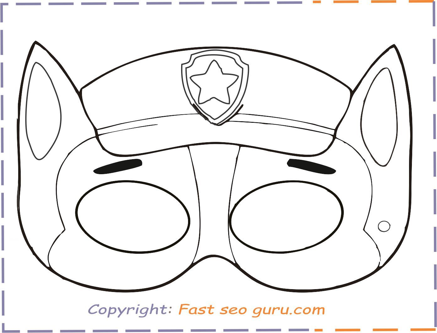 Print Out Paw Patrol Chase Mask Chase Paw Patrol Paw Patrol Coloring Paw Patrol Coloring Pages