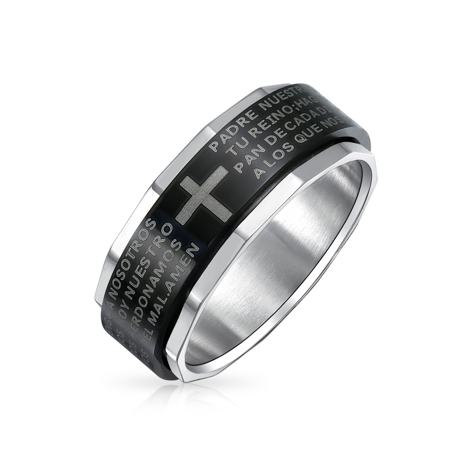 Religious Padre Nuestro Lords Pray Cross Black Spinner Band Ring For Men For Women Silver Tone Edge Stainless Steel - Silver, 13 Our black stainless steel spinner ring blends elegance and contemporary fashion beautifully. It is a perfect gift for yourself or for that special person in your life who wears religious jewelry. Our lightweight padre nuestro ring features the comforting words of the Lords prayer in Spanish. The black inner band with the words of the Lords prayer etched on it spins eas