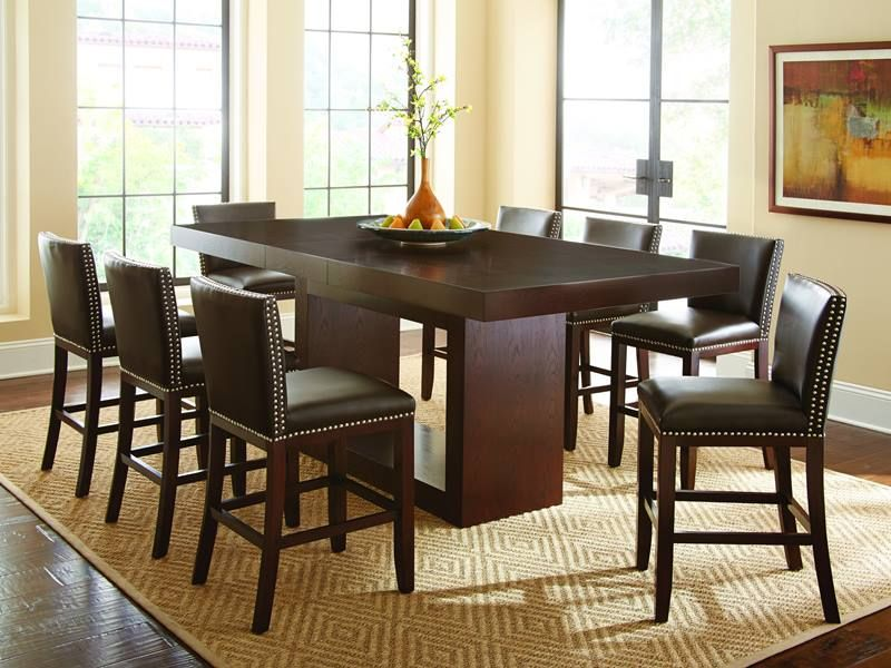 Antonio Iii Counter Height Table Set With Dark Brown Nailhead Prepossessing Height Dining Room Table Design Inspiration
