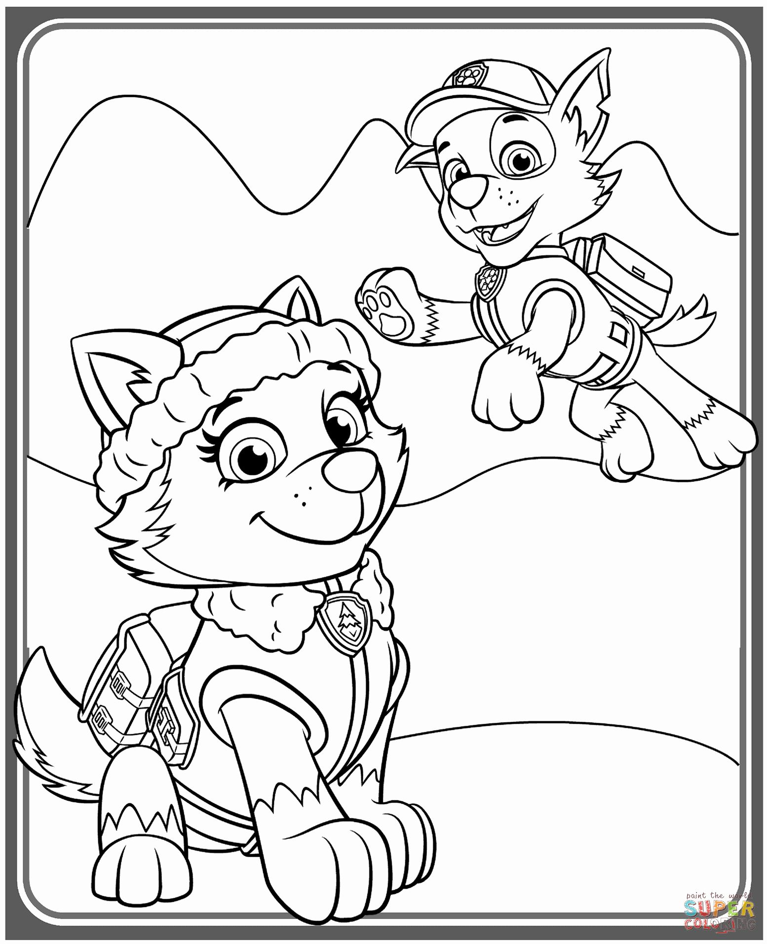 Paw Patrol Everest Coloring Page Elegant Everest And Rocky