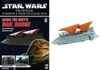 "Star Wars Starships &Vehicles Collection #6 Jabba the Hutt's Sail Barge by Star Wars. Save 34 Off!. $16.49. Includes Vehicle and Magazine. Sail Barge 4"" x 1.5"". The Star Wars: The Official Starships and Vehicles Collection Magazine brings fans superbly detailed, painted metal models of the most amazing starships and land vehicles from George Lucas' mythic Star Wars films. Each comes with a copiously illustrated magazine that relates the history of the vehicle, its pilots or crew, and full..."