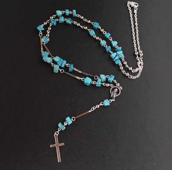 Nara Beads: Blue Turquoise Chip Bead Rosary Bead Necklace By