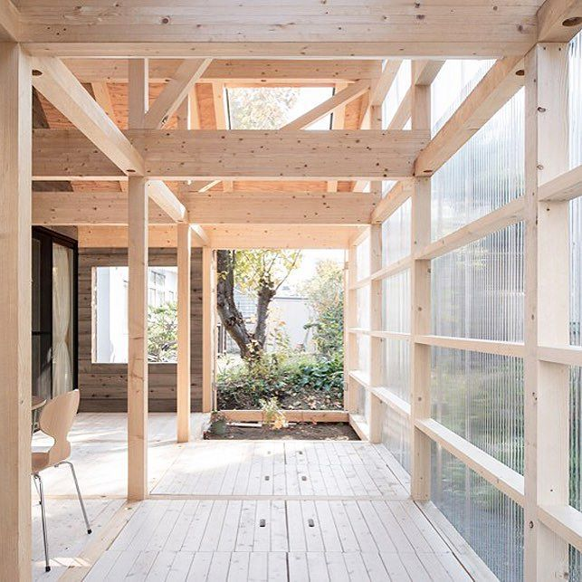 clad in plastic panels with an exposed timber frame this minimal