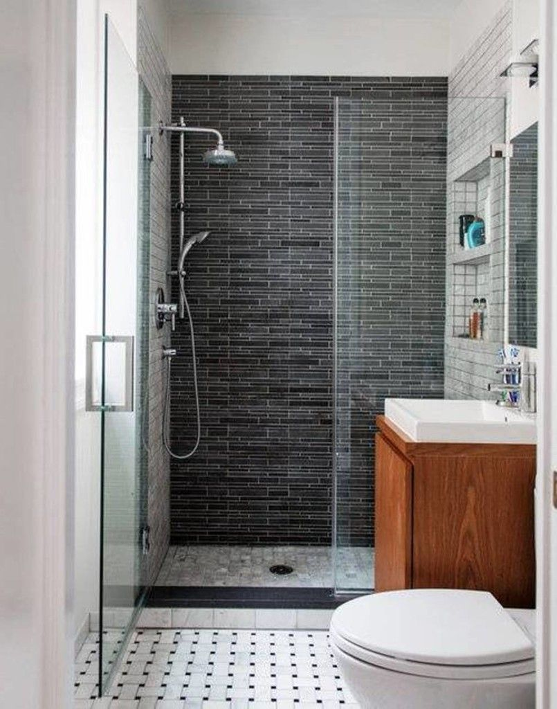 Simply Stylish Small Bathroom Idea With Toilet And Wood Vanity Sink With Square White Vessel Sink And Sh Cheap Bathroom Remodel Simple Bathroom Bathroom Layout