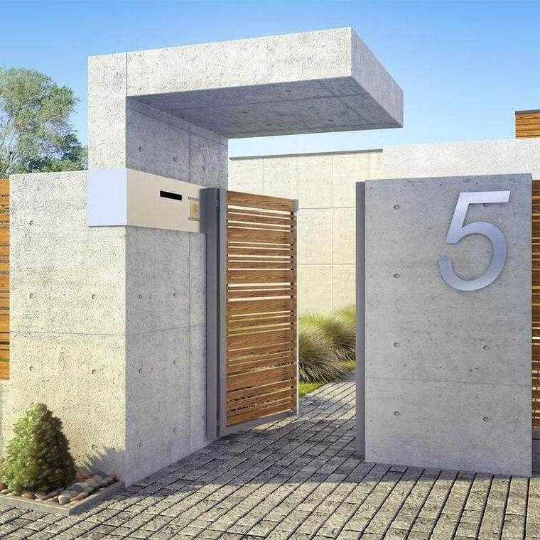 Mur de cl ture 98 id es d 39 am nagement quipement ext rieur cl ture moderne cloture maison - Portail maison moderne ...