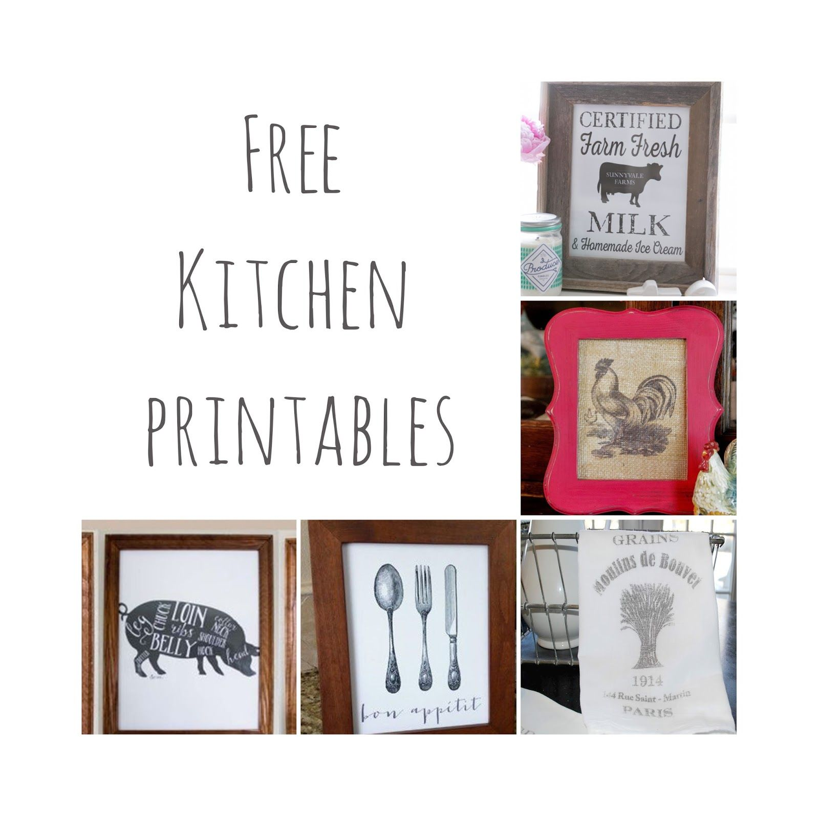 Rustic Kitchen Signs: Free Kitchen Printables. Farmhouse Kitchen Decor.