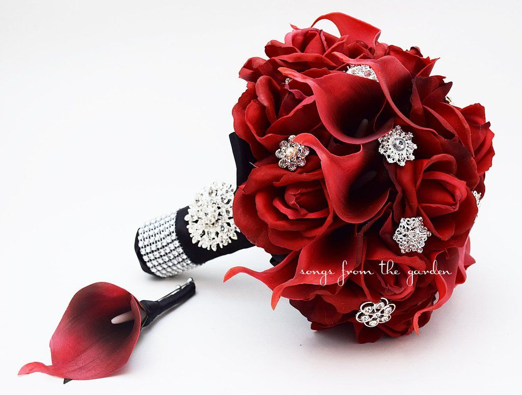 Red Garden Rose Bouquet red roses calla lilies & rhinestones bridal bouquet - red black