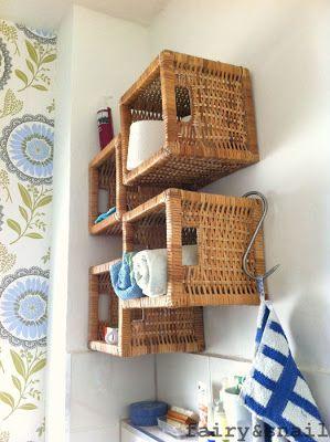 Badezimmer-Stauraum aus ungenutzten Körben | Idee bagno | Pinterest ...