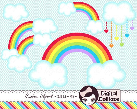 Double Rainbow Clipart, Cloud Clip Art, Digital Scrapbook ...
