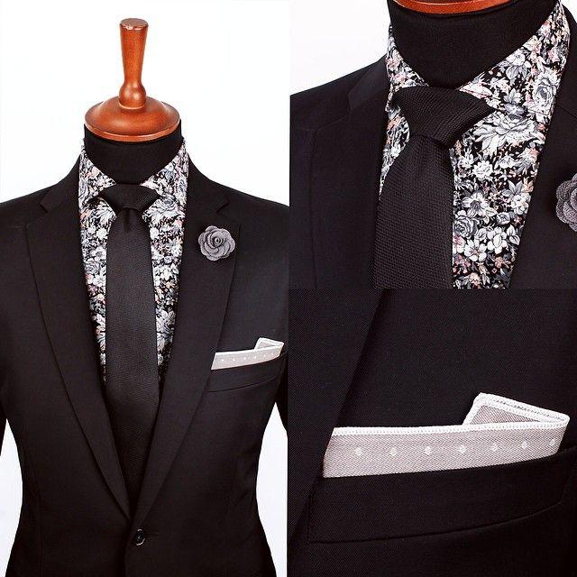 ec1673c4cf2e8 Floral Shirt - Black Suit