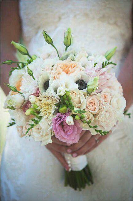 7466bd4012 Pretty Wedding Bouquet: White Anemones, White Freesia, White Stock, Peach  English Garden Roses, Peach Roses, Pink Roses, Vanilla Dahlias, Pink  Lisianthus + ...