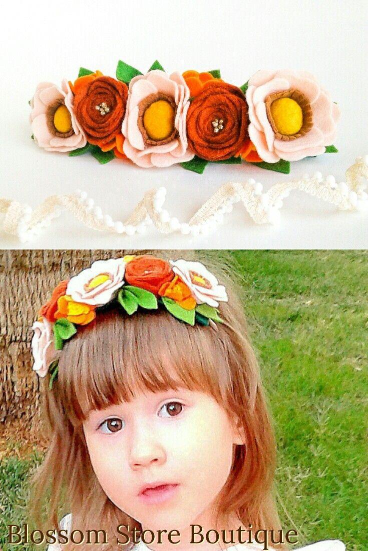 Wunderschönes handgemachtes Stirnband aus Filzblumenkrone ist das perfekte Haarschmuck für ..... #crownheadband