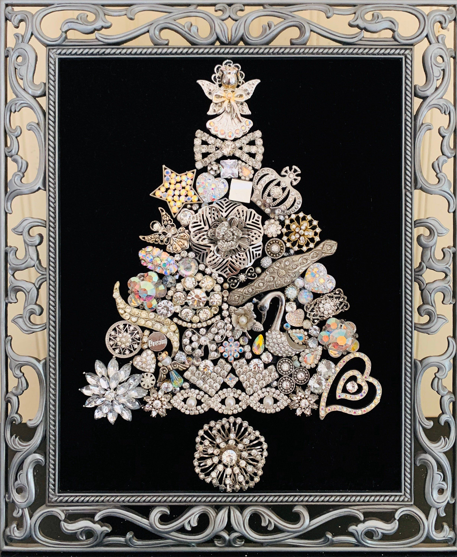 Framed Vintage Jewelry Christmas Tree Framed Tree