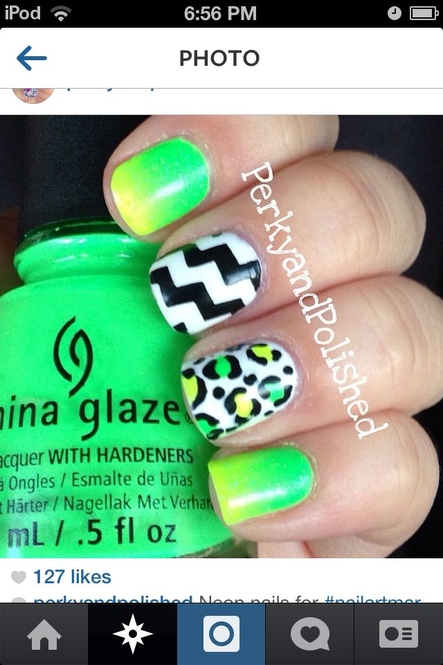 Summer Nails. Love the Cheveron and leopard. | Nails and ...