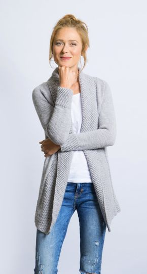 Cardigan mit Perlmuster-Blende #ponchoscrochet