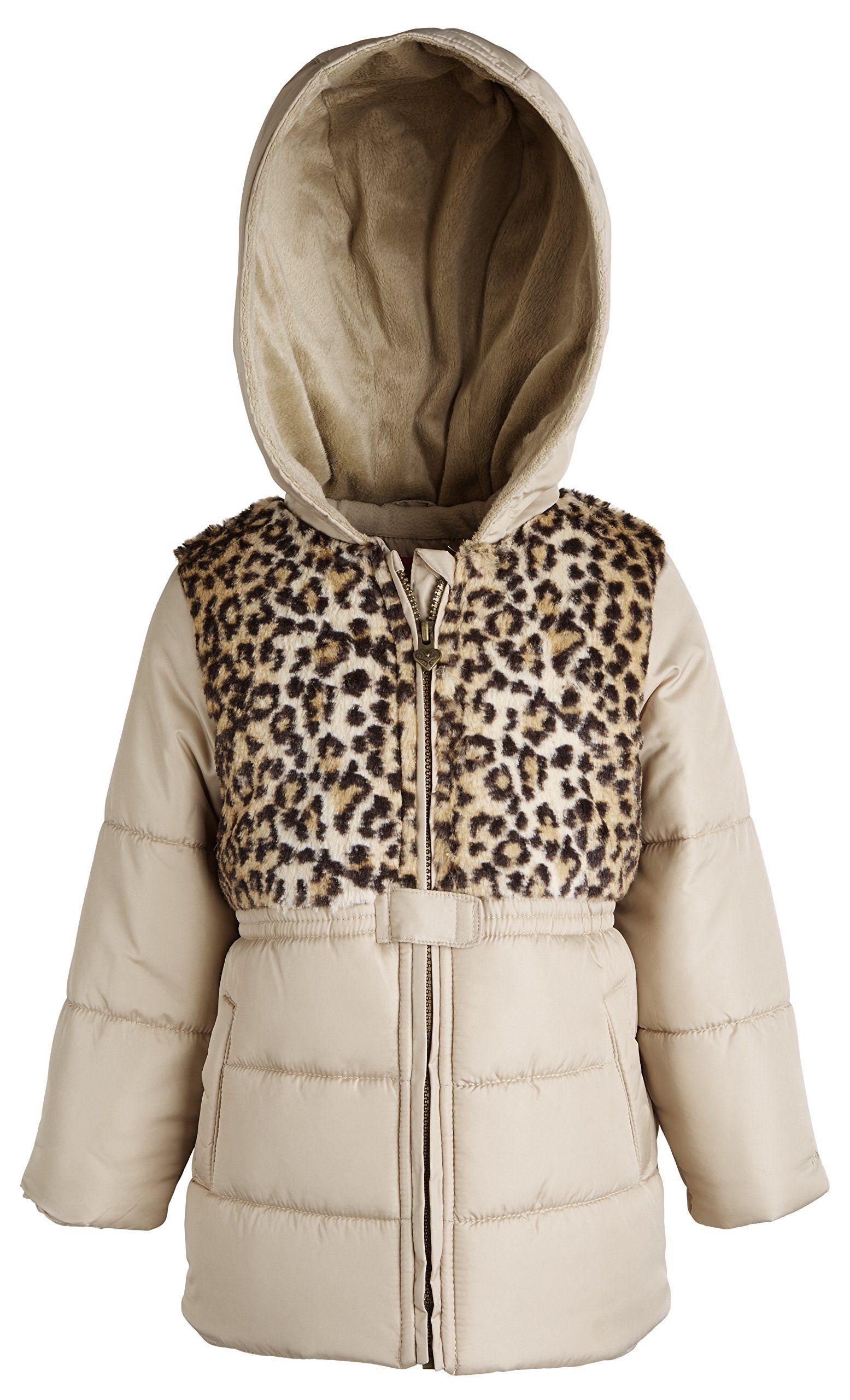 London Fog Baby Girls Leopard Chest Insulated Jacket Khaki 12 Months Back Is Fleece Lined Inside Secure Han Winter Puffer Jackets Jackets Girls Leopard [ 2560 x 1555 Pixel ]