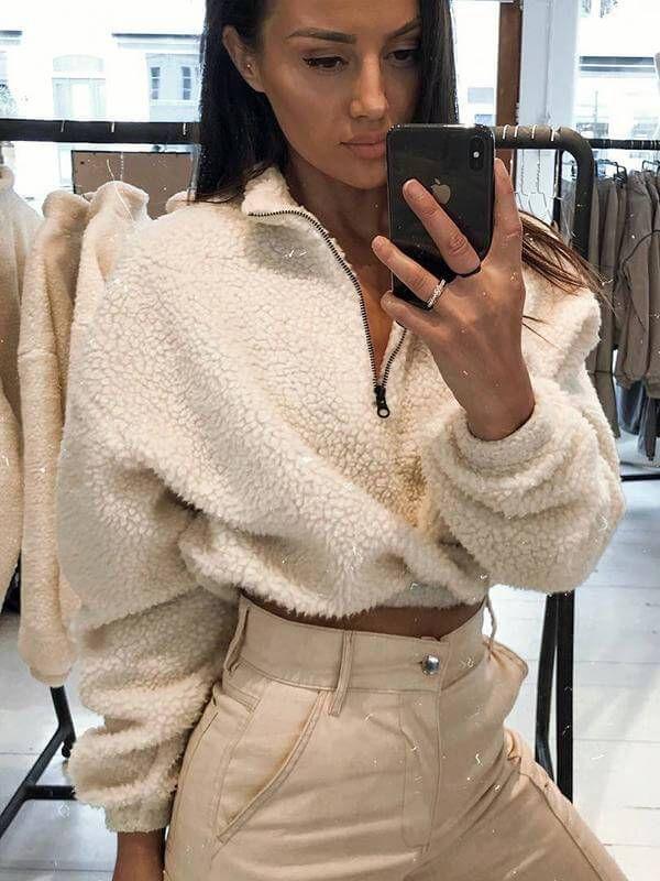 Long Sleeve Zipper High Neck Faux Lambswool Crop Tops Autumn Winter Women Fashio... 2