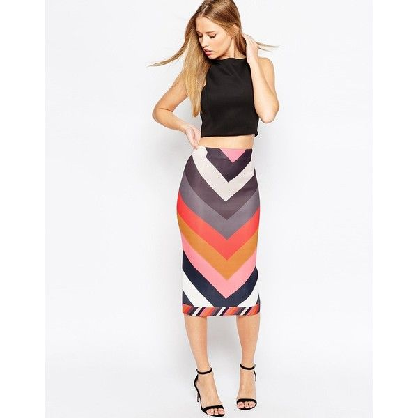 cb033fe6a ASOS Scuba Pencil Skirt in Chevron Stripe ($58) ❤ liked on Polyvore  featuring skirts, multi, asos, white knee length pencil skirt, pencil skirt,  ...