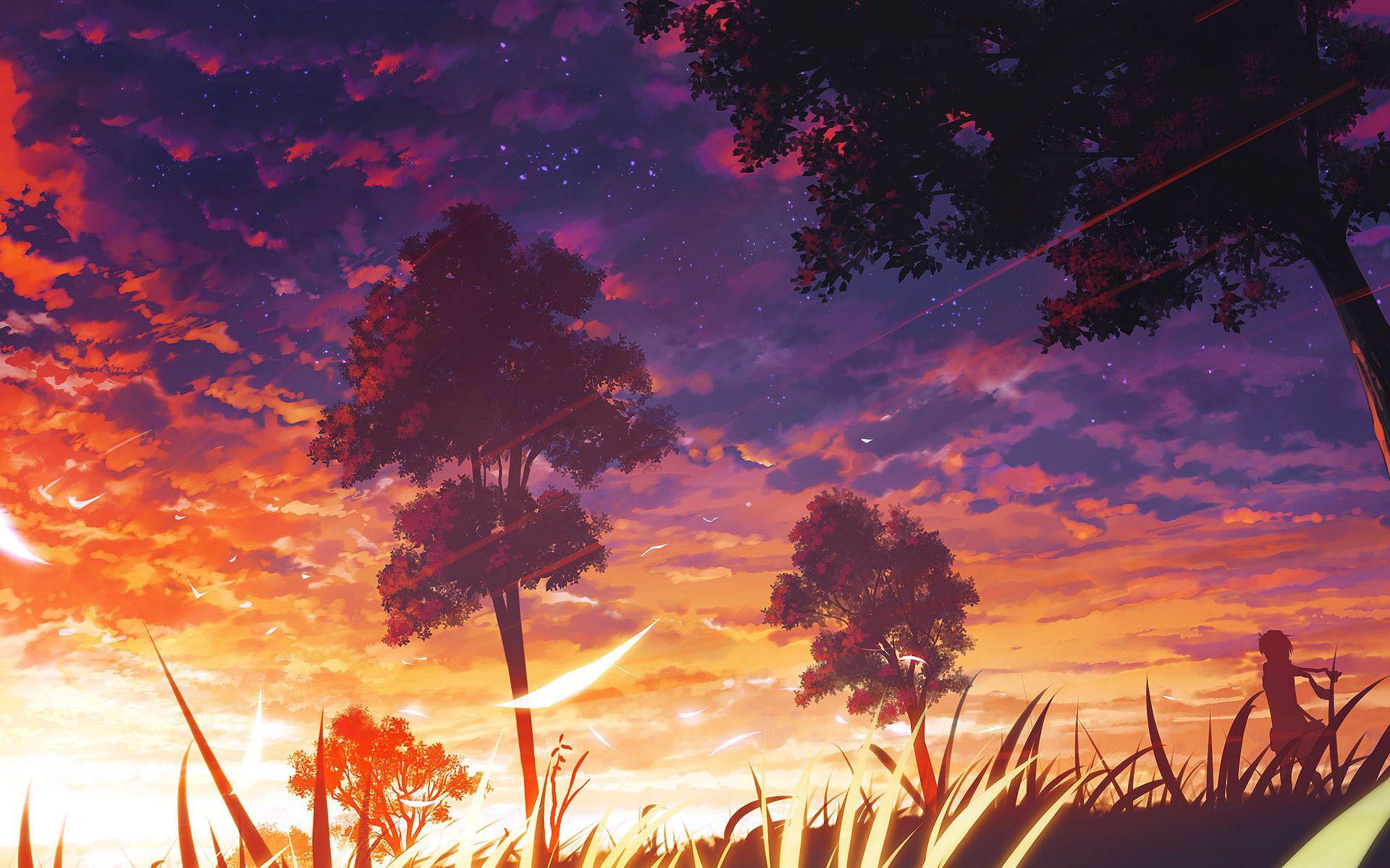 Anime Summer Sunset Images Phong Cảnh Tạo Cảnh Quan Anime