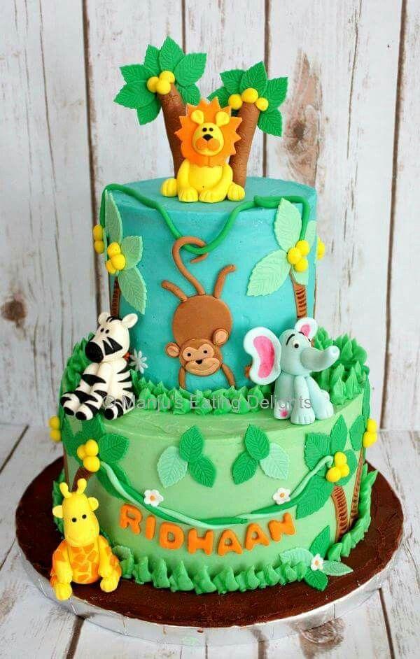 Prime Jungle Cake Jungle Birthday Cakes Animal Birthday Cakes Jungle Personalised Birthday Cards Cominlily Jamesorg