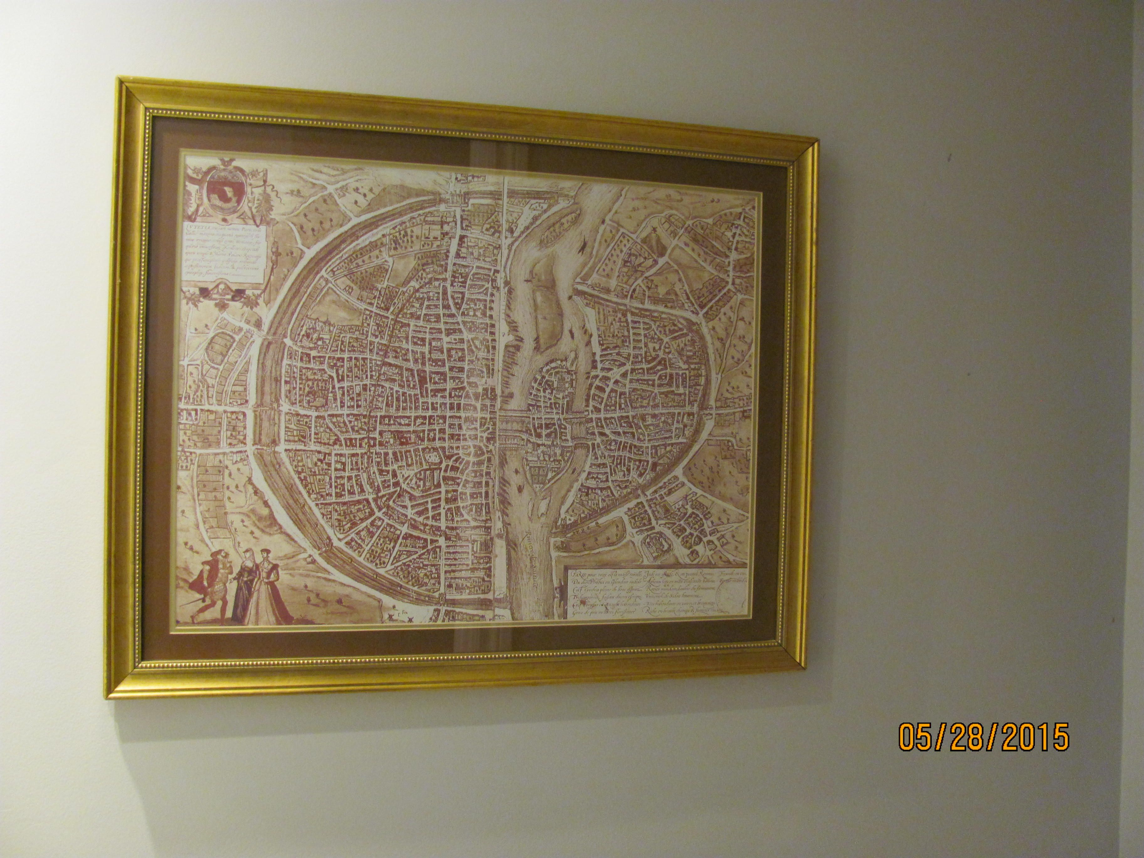 Great repro French map from the Hotel liquidation store.