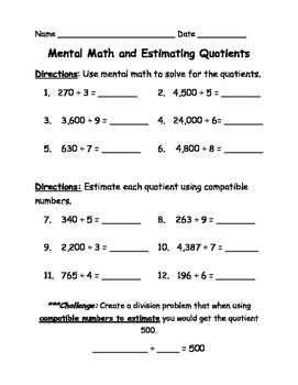 Mental Math And Estimating Quotients Quiz Worksheet Mental Math Estimating Quotients Math Division
