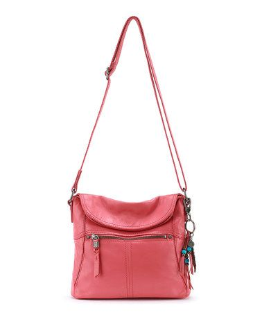 Loving this Coral Esperato Leather Flap Crossbody Bag on #zulily! #zulilyfinds