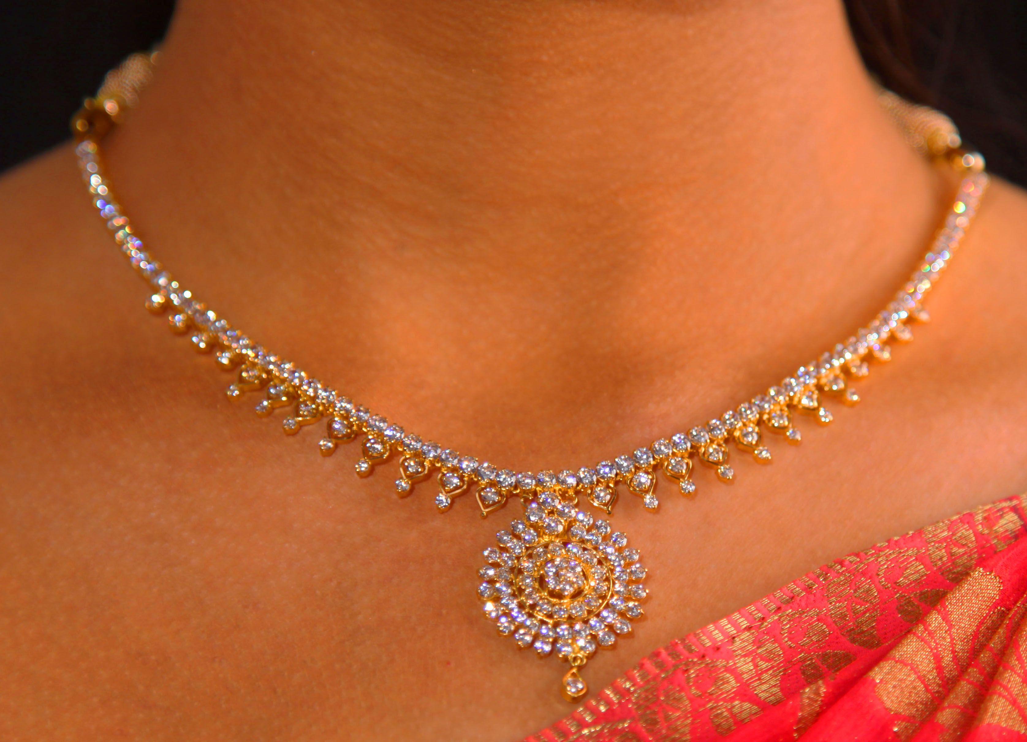 White Stone Jewel #Gold #Chain #Indian #Ethnic #SreeAnnaiJewels ...