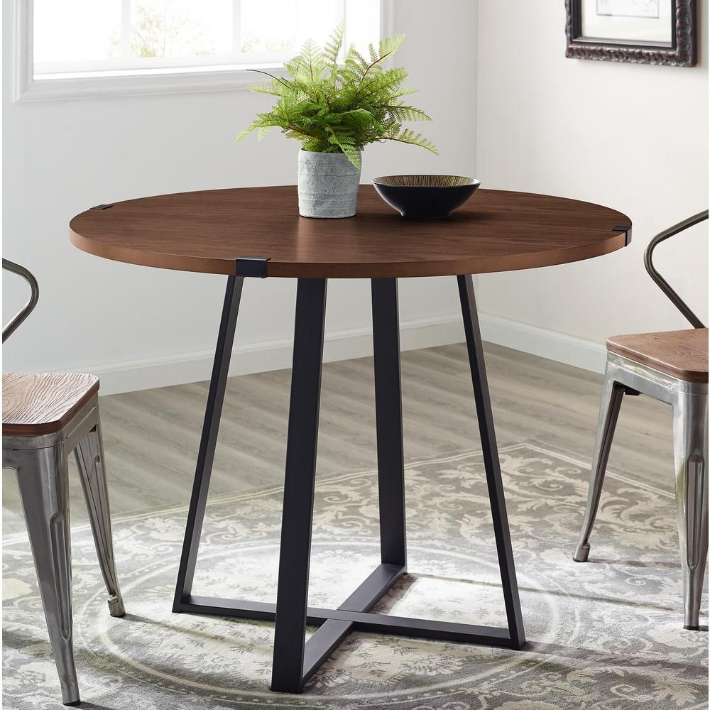 Walker Edison Furniture Company 40 In Rustic Round Dark Walnut Black Dining Table Hdw40rdwradw The Home Depot Dining Table Black Dining Table Furniture Dining Table