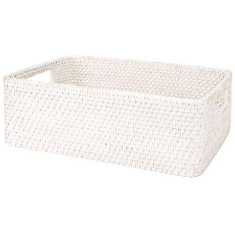 Nito low open basket 33x25cm rattan white wash home - White wicker bathroom accessories ...