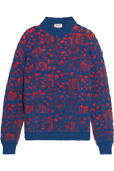 Acne Studios | Open-knit wool-blend sweater | NET-A-PORTER.COM