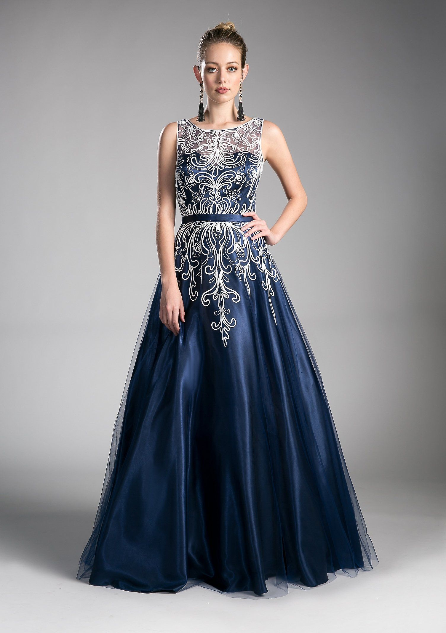 81b84624029 Long Illusion Formal Dress with Embroidery by Cinderella Divine 1020 ...