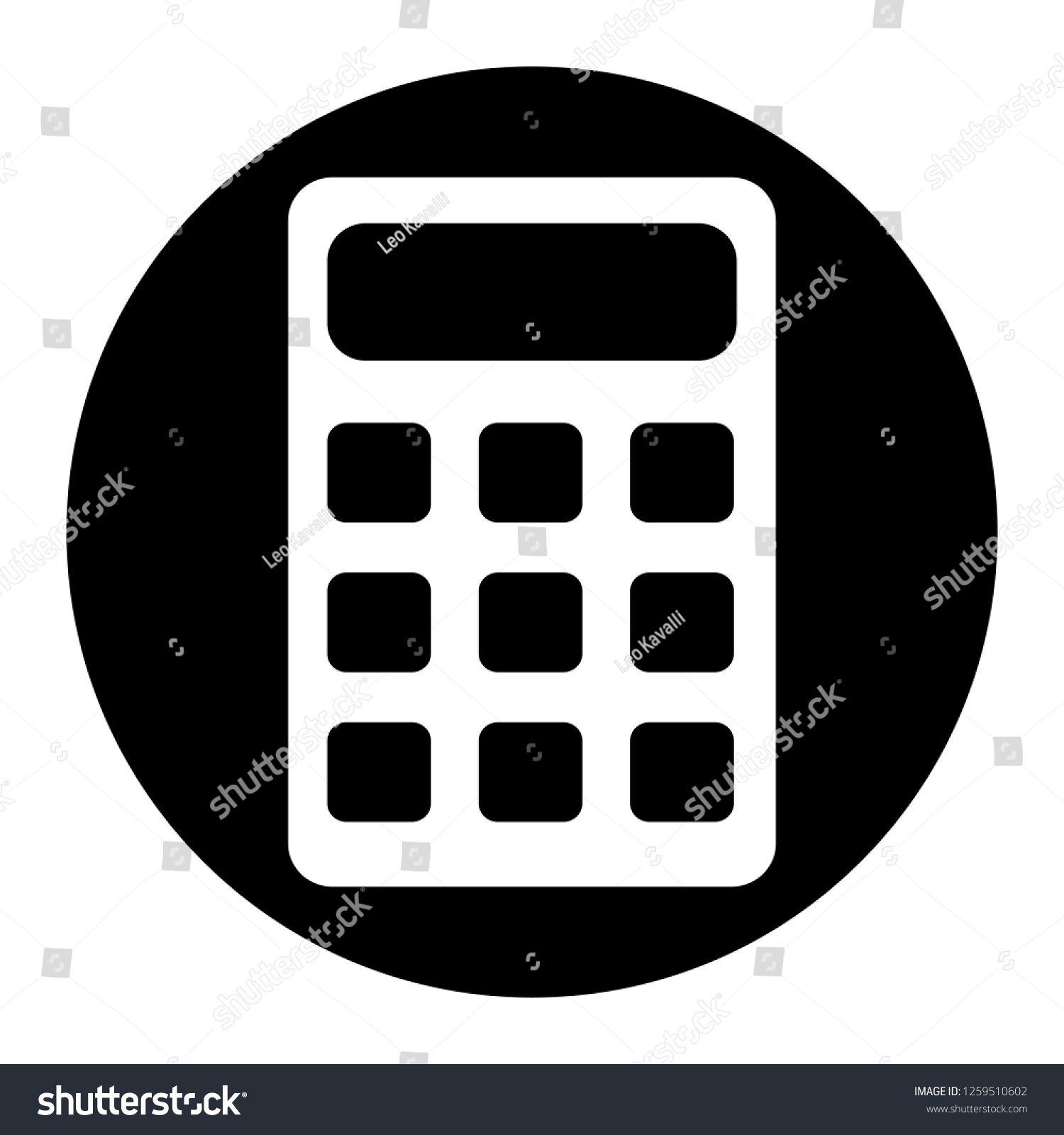 Calculator icon on black circle white background black