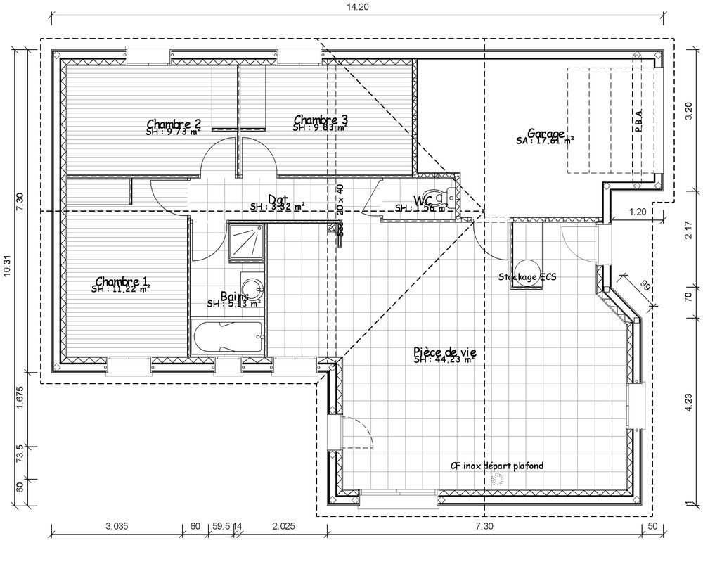 Plan maison contemporaine plain 1000 819 for Plan maison 5 chambres