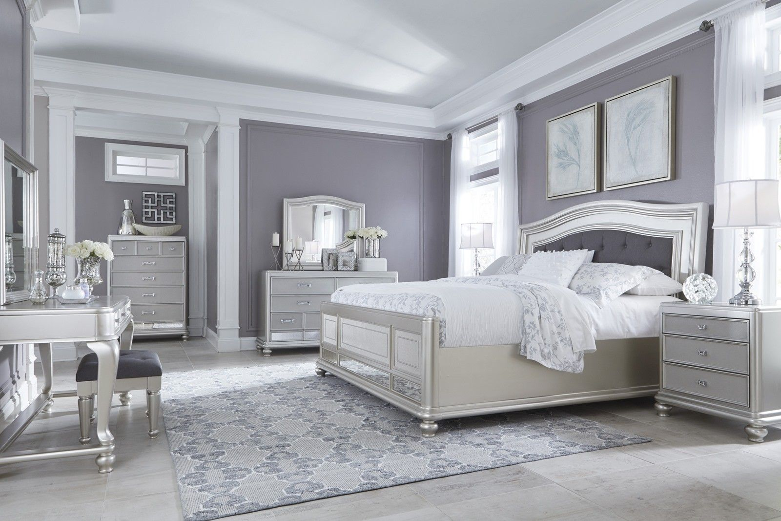Coralayne 4-Piece Upholstered Panel Bedroom Set in Silver ...