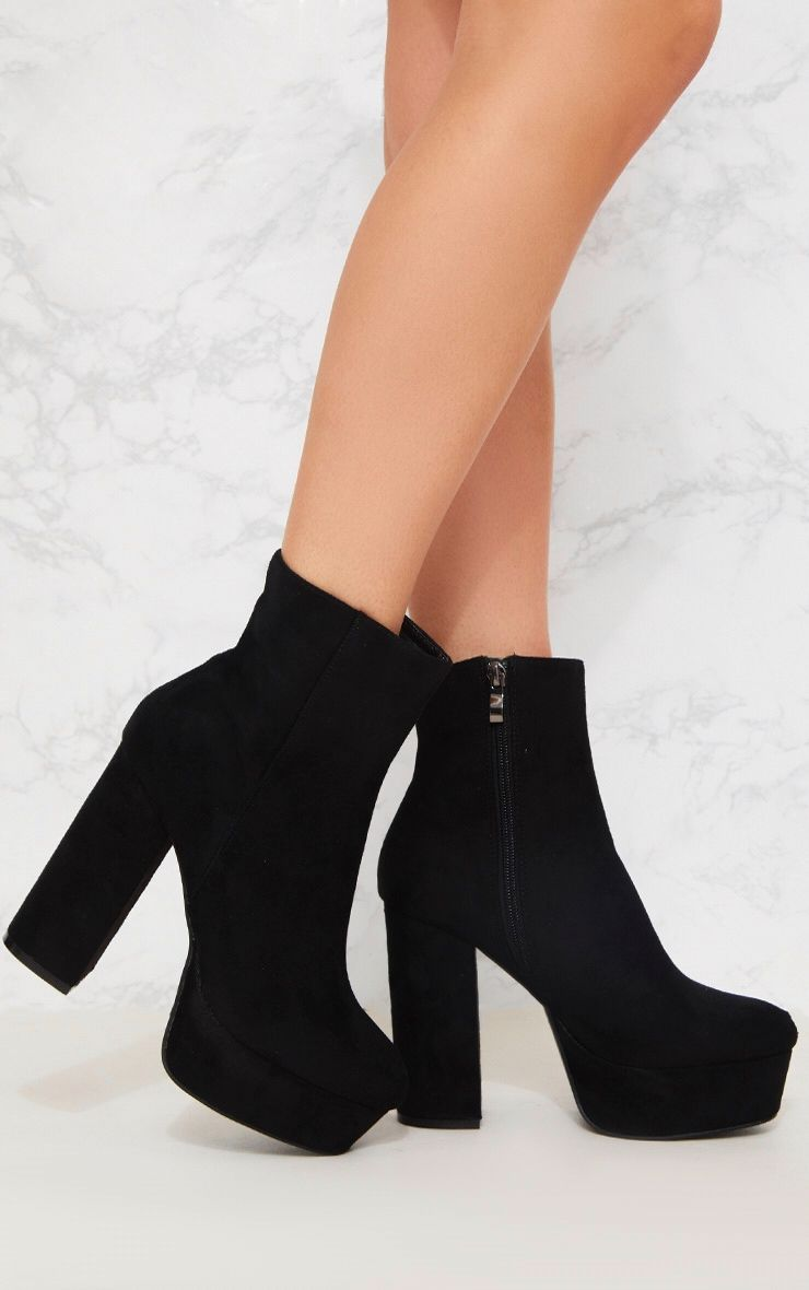black suede high heel ankle boots