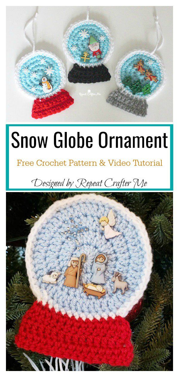 Snow Globe Christmas Ornament Free Crochet Pattern and Video ...