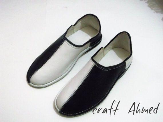 shoes unisex balck and whait size 7UK handmade by Craftproducte