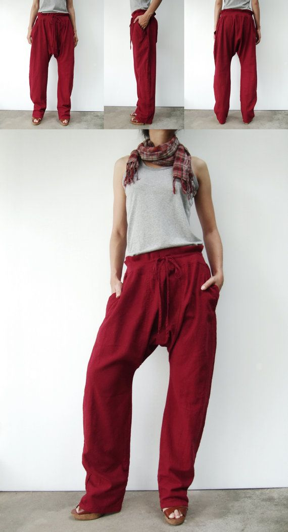 NO.68 Dark Red Cotton Drop Crotch Pants Slant by JoozieCotton
