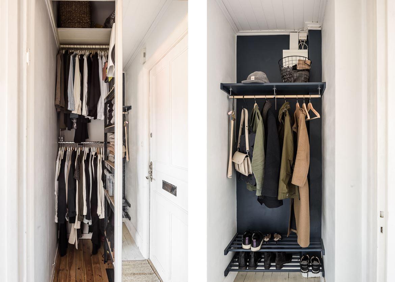 stor klädkammare i hall samt utrymme för kapphängare