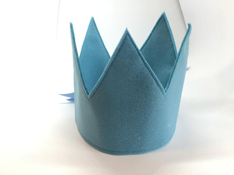 Baby Blue Felt crown, felt party hat, kids party hat, fun kids hat, kids birthday crown, kids birthday crown, party crown, childrens crown