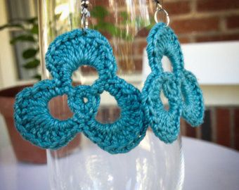 Turquoise crochet earrings by OMailleCo on Etsy