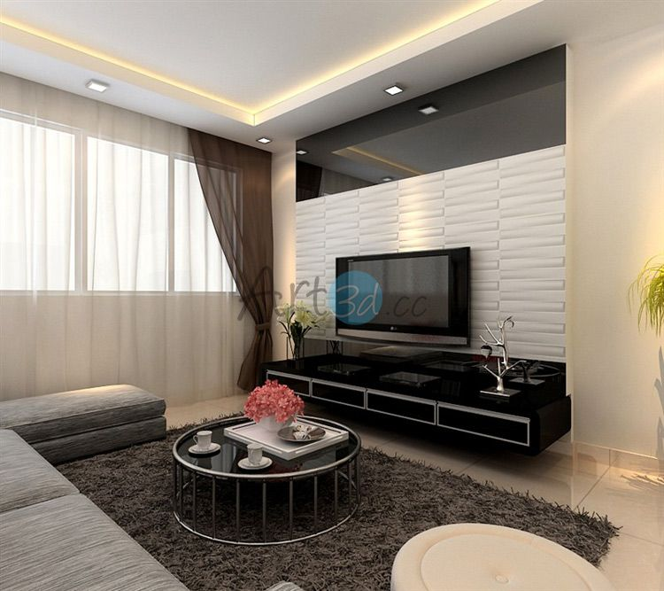 3d Pvc Wall Cladding For Living Room Living Room Wall Designs